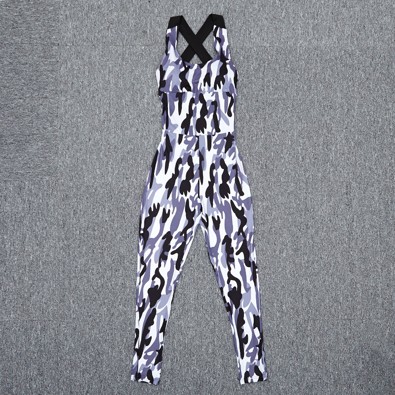 2017 Fashion Camouflage Sexy Sporting, European Women's New Backless Casual Jumpsuit, Bodysuit 14