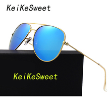 KeiKeSweet HD Polarized Hot Men Or Women Aviation Cool Top Fashion Rayed P3025 Pilots Sun Glasses Brand Designer Lady Sunglasses(China)