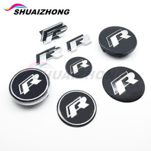 Rline R Logo car Front Grille Badge Side Fender 3D Stickers Car Steering Wheel Badge Wheel Center Hub Cap For VW Golf Jetta Polo(China)