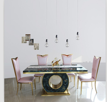 Dining table set with good quality marble dining table black &rose gold color 4 chairs(China)