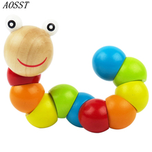 (AOSST) Lovely Multicolour Crooked Worm Caterpillar Animal Creative Wooden Cute Toys 0 - 3 Years Old Baby Toys(China)
