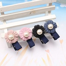 New Headdress Flower Princess Hairpins Double Flora Pearl Hair Clip For Girls Sweet Headwear Barrette(China)