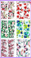 6 PACK/ LOT  GLITTER WATER DECAL NAIL ART NAIL STICKER FULL COVER PLUM BLOSSOM DAISY LOTUS FLOWER SY1593-1598