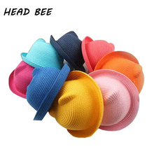 [HEAD BEE] Brand Straw Hats Summer Baby Ear Decoration Lovely Children Character Girls and Boys Sun Hat Solid Kid Floppy Panama(China)