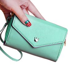 Fashion Lady Women Leather Clutch Purse Phone Wallet Short Bag Card Holder Women Wallets for iphone 4 5 6 6s(China)