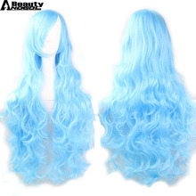 ANOGOL BEAUTY F+Hair Cap + Winter Fairy Side Part Natural Long Body Wave Blue Synthetic Sapphire Cosplay Wig For Party(China)