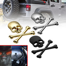 3D Car Styling Refitting Metal Car Motorcycle Skull Bone Skeleton Decal Sticker Badge Emblem 3Colors Universal Fit Car Truck(China)