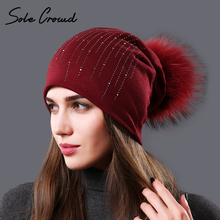 Sole Crowd 2017 Autumn Rhinestone hats for Women fashion winter warm cotton caps ladies beanies natural raccoon fur pompom hat(China)