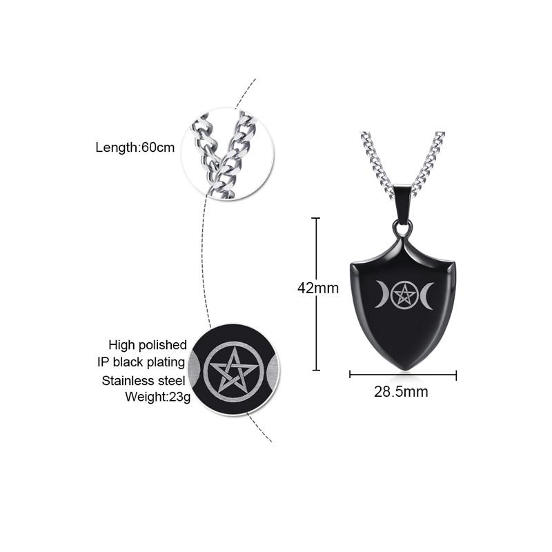 Meaeguet Triple Goddess Crescent Moon Shield Pendants Men Necklaces Shield Protection Black Stainless Steel Necklace Jewelry (3)