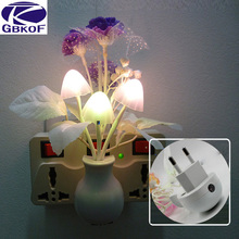 GBKOF 220V Baby Romantic Colorful Dream Sensor LED Night Light Lamp Mushroom Flower Plant For Home Bedroom Decoration EU US Plug