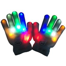New Style Kids Fingertip LED Gloves Rainbow Flash Light Glow Stick Gloves Mittens 2017(China)