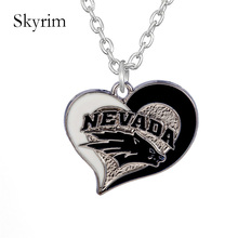 Skyrim NCAA college football Nevada Wolf Pack white & blue Necklace Fashion Enamel Swirl Heart Shaped Pendant for fans(China)