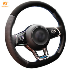 Mewant Black Genuine Leather Suede Car Steering Wheel Cover for Volkswagen Golf 7 GTI Golf R MK7 VW Polo GTI Scirocco 2015 2016