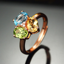 925 Sterling Silver Rings with 2.5ct Citrine Peridot Topaz Stone 18K Rose Gold Plated Women Wedding Engagement Finger Rings