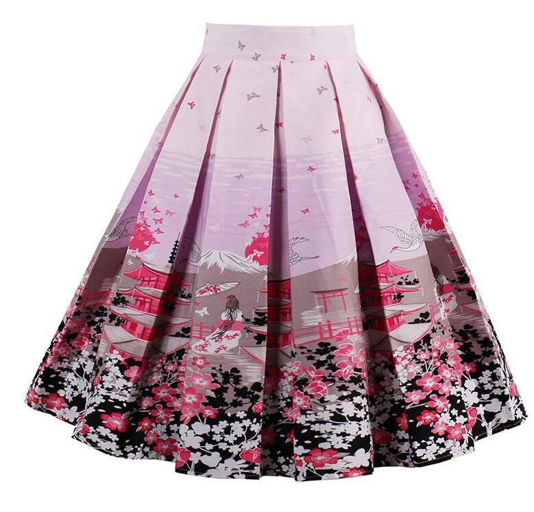Retro Seals Floral Summer High Waist Vintage Skirt Elegant Midi Lines Skirts  S-XXL skirts female midi skirt sun