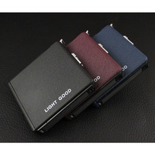 (20 Cigarette )Scrub Multifunction Cigarette Case Fashion Flameless Windproof Inflatable Gas Lighter Cigarette Box Men Gift(China)