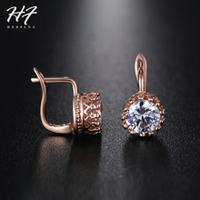 Crown Austrian Crystal Wedding Stud Earrings Rose Gold Color Fashion Brand Vintage CZ Crystal Jewelry For Women E610 E611(China)