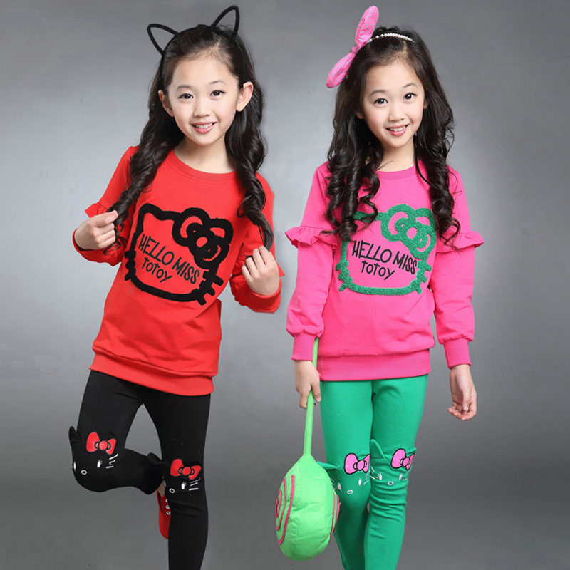 2017 fashion Baby Girl Clothing Set Hello Kitty Pattern Ruffle Hoodies + Pants High Quality Cotton Children spring Clothes Suit<br><br>Aliexpress