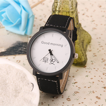 New style ladies Watches Chinese Character good morning Lovers Couple Top Luxury Leather strap Watch Relojes hombre 2017 Clock(China)