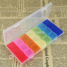 Tablet Pill Medicine Box Holder Storage Organizer Container Case  Colorful 21Slots Pill Box
