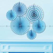 Blue Paper Fan Rosettes Backdrop Paper Pinwheel Garland Party Fans Paper Medallions for Wedding Birthday Shower Everyday Decor(China)