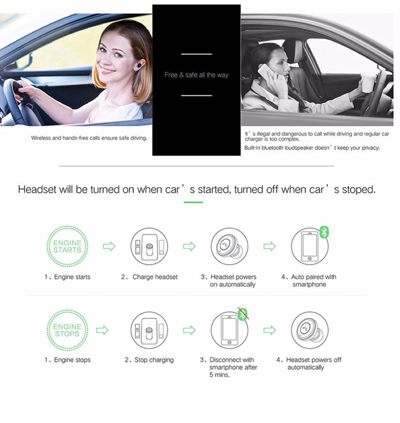Remax RB-T11 2 in1 Mini Bluetooth Headphone USB Car Charger Wireless Car Headset Bluetooth Earphone for iPhone 7 Samsung Xiaomi