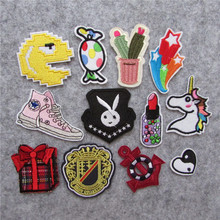 12 kind different loveliness cartoon patter hot melt adhesive applique embroidery patches stripes DIY clothing accessory(China)