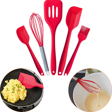 Approved Silicone Cooking Tools Silicone Kitchen Utensils Set (5 Piece) in Hygienic Solid Coating(China)