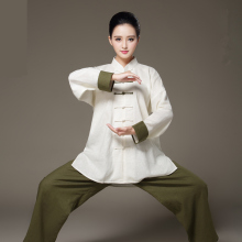 Unique Design Long Sleeve Linen Bi-color Taiji Clothing Tang Suit Kung Fu Uniform Martial Arts Tai Chi Suits Wushu Garment
