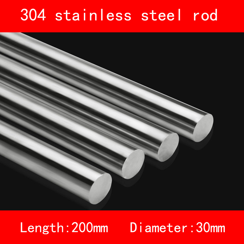 smooth 304 Stainless steel rod diameter 30mm length 200mm anti-corrosion metal<br>