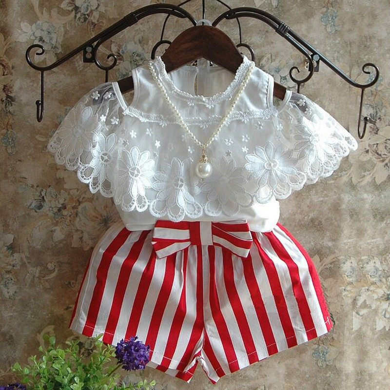 Kids Clothes Girls Clothing Set White Off Shoulder Lace Princess Top+Striped Shorts 2pcs Set Girls Outfits Toddler Girl Clothing<br><br>Aliexpress