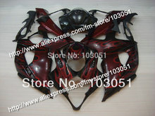 Injection bodywork for 2005 suzuki gsxr 1000 fairings K5 2006 GSXR 1000 fairing 05 06 red flame in glossy black HM88(China)