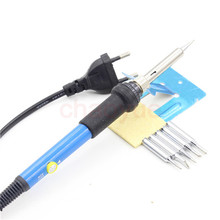 60W 220V Electric Adjustable Temperature Welding Solder Soldering Iron Welding Tool with 5pcs Iron Tips
