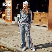 RockGeorge Casual Style Tracksuit Women Gray Blue Pink Color Lady Sportswear Track Suit Velour Set Hoodie Pants for Women 2017