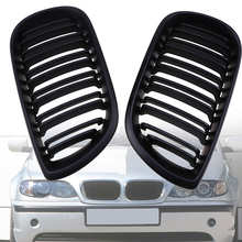 High Quality 1pair Black Kidney Car Front Grille Grill Double Bars For BMW 3-Series E46 Sedan 2001-2005 Facelift Car Styling