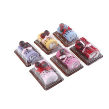 1PCS Creative Cherry cake Shape Hand towel Cotton wedding home Christmas Gifts 6 Colors(China)