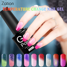Zation Thermal Nial Gel Chameleon Nail Polish Temperature Change Color UV Gel Nail Art Polish Bling Enamel Thermo Varnish Hybrid