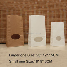 100PCS 7.5*12*23cm&6*9*18cm Kraft Brown White without handle paper bag food packaging kraft Party gift paper bag with oval windo