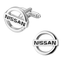 The French man Cufflinks production of high quality brass silver NISSAN logo Cufflinks Cuff nail shape source(China)