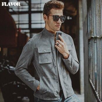 Hommes Véritable veste En Cuir peau de porc gris réel en cuir veste hiver manteau hommes moto veste