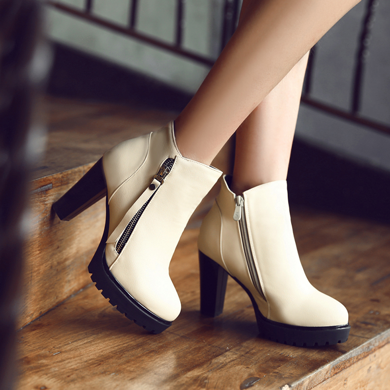 Sexy PU Leather Women Pumps Ankle Boots Fashion Round Toe Platform Women Shoes Slip-on with Zipper Thick Heel Women Boots<br><br>Aliexpress