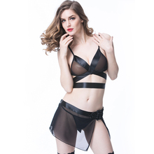 Buy Christmas Gift Women Erotic Apparel Sexy Lingerie Ribbon Bra Transparent Mini Skirt Stocking Thongs Set Underwear Sex Costumes
