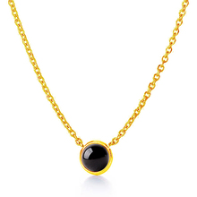 Quartz Crystal Black Onyx Pendant Necklaces gold-color 2017 spring handmade statement jewelry tiny wholesale
