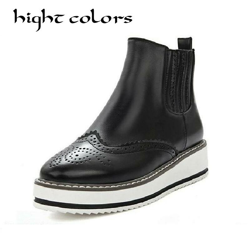 New 2017 Ankle Boots Casual British Footwear Slip on Shoes For Women Leather Platform Boots Black Fashion Oxford Brogues Shoes <br>