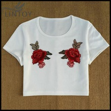 Women Embroidered Shirt Fashion Embroidered Rose Vintage Short Sleeve Cropped Tops Spring Small Sexy Beige T Shirt High Quality