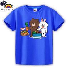 short sleeve children t shirt, boys girls t shirt kids wear  clothes color 28 animal shopping supermarket bear with rabbit