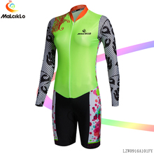 MALCIKLO Fluor green Cycling jumpsuit Long Sleeve Jersey Spring Women Pretty Pattern Elastic Fabric  Bicycle Sport Coverall