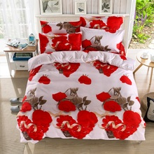 Home textiles New Red rose 3D cotton bedding sets   duvet cover bed sheet pillowcase Valentine's day gift bedclothes Queen size