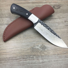 Handmade forged Damascus Steel Forged Damascus Steel pattern hunting knife fixed knife ebony handle first layer packing