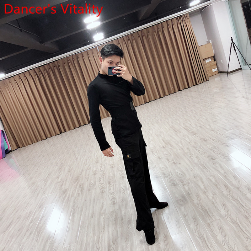 New Adult Men Professional Latin Dance Pocket Pants Rumba Tango Samba Dancing Practice Performance Costume Black Trousers